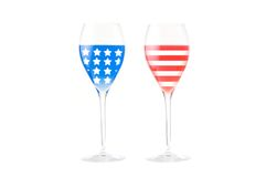 USA flag made with glasses. A USA flag made with two wineglasses Stock Photo