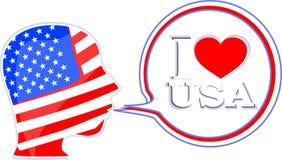 USA flag man with speech bubbles - i love usa Royalty Free Stock Photography