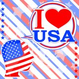 USA flag man with speech bubbles - i love usa Royalty Free Stock Images