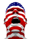 USA Flag Man Yelling Stock Photography