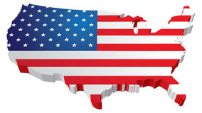 USA Flag map Stock Photography
