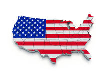 USA flag map. 3D. Render Stock Photos