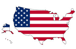USA flag and map. USA flag inside map isolated Royalty Free Stock Images