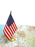 USA flag on the map Royalty Free Stock Photo