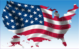 USA flag and map Royalty Free Stock Photography