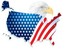 USA Flag Map With Eagle Royalty Free Stock Photography