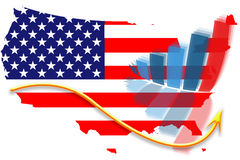 USA flag map and graph chart Royalty Free Stock Images