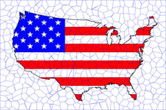 USA Flag Map Mosaic Royalty Free Stock Photos