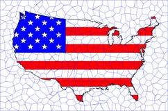 USA Flag Map Mosaic Royalty Free Stock Photos