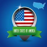 USA flag and map with ribbon Stock Photography