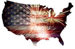 USA Flag in Map Silhouette with Fireworks. United States of America USA Flag in Map Silhouette Outline with Fireworks Background For 4th of July Illustration stock illustration