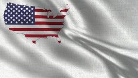 USA Flag and Map Together White Background 002. High Details vector illustration