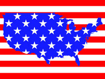 USA flag map. Map of United States of America with flag. Vector illustration Royalty Free Stock Image