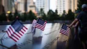 USA Flag in 911 Memorial Royalty Free Stock Photos