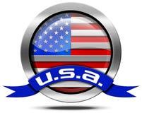USA Flag - Metal Icon Stock Photo
