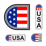 USA flag minimalistic badge symbol Stock Image