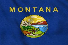 USA Flag of Montana gently waving in the wind stock illustration