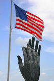 USA Flag & Monument. American Flag and Monument in Miami Florida Royalty Free Stock Images