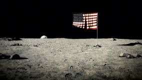USA flag on the moon. American flag on the moon stock illustration