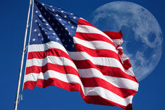 USA Flag with moon in sky Stock Photography