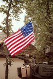 USA flag mounted on armored  vehicle Stock Photo