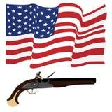Usa flag and musket Stock Image