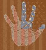 USA flag in my hand. High detailed illustration of an USA flag on my right hand in grunge style Stock Photo