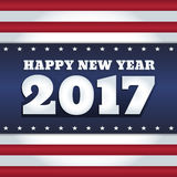 USA flag 2017 New Year card. Abstract holiday greeting card. Retro style, USA flag colors. Text Happy New Year 2017. Square format Vector Illustration
