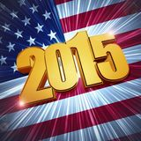 2015 USA flag. New year 2015 - 3d golden figures with rays and shining USA flag royalty free illustration