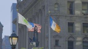 USA flag, New York City flag and National League of Families POW MIA Flag
