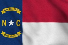 USA Flag of North Carolina gently waving in the wind stock illustration