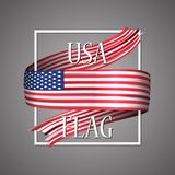 USA flag. Official national colors. United States of America 3d realistic ribbon. 4th July independence day. Waving vector patriotic glory flag stripe sign stock illustration