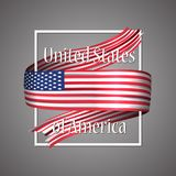 USA flag. Official national colors. United States of America 3d realistic ribbon. 4th July independence day. Waving vector. Patriotic glory flag stripe sign Stock Photos