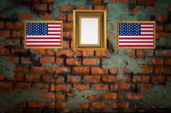 USA flag on old brick wall Stock Photos