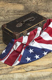 USA flag with old style voyage suitcase. Stock Photography