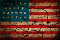 USA flag. Painted on cracked earth background Stock Photo