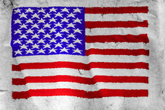 USA flag painted on rough white paper Royalty Free Stock Photos