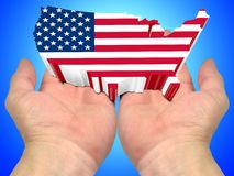 USA flag on the palms of the hands Stock Images