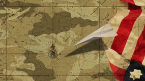 Usa Flag and Paper Airplane Mimetic. Background Stock Photo