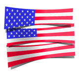 USA flag paper 3d realistic on white background Royalty Free Stock Photos