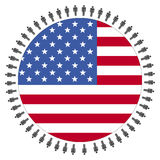 USA flag with people Royalty Free Stock Photography