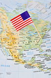 USA map flag pin pointing to Washington royalty free stock images