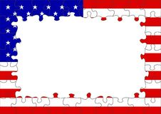 USA flag puzzle border Royalty Free Stock Photo