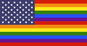 USA LGBT flag. USA flag with rainbow stripes. LGBT flag against discrimination stock illustration