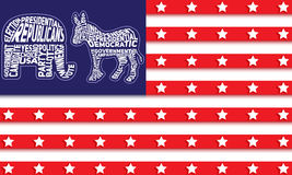 USA flag with republican party symbol of elephant and democratic party symbol of donkey Stock Photo
