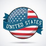 USA flag ribbon button decoration design. Vector illustration Stock Images
