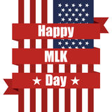USA flag with ribbon. Happy MLK day. Vector illustration Royalty Free Stock Photo