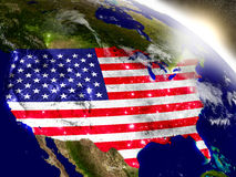 USA with flag in rising sun Royalty Free Stock Photos
