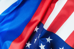 Usa flag and Russia flag Royalty Free Stock Photo