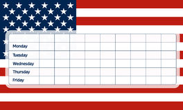 USA flag school timetable Stock Photography